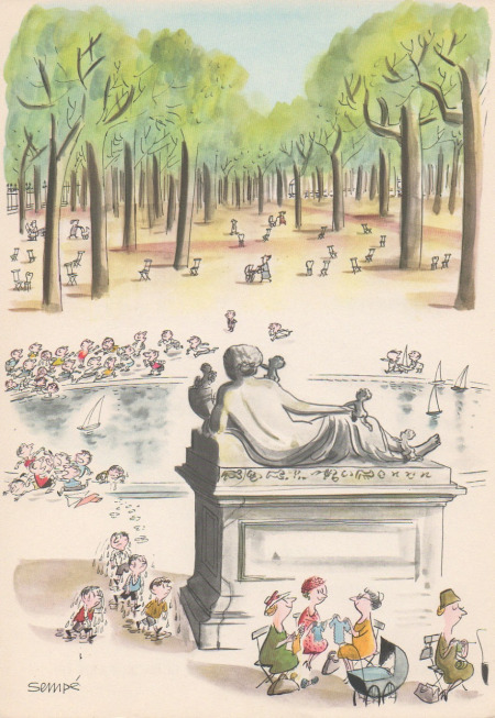 illustration of Gardens in paris by Jean-Jacques Sempé