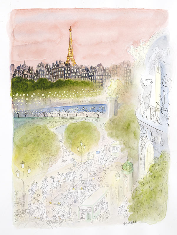 illustration of man drinking champagne while looking at paris skyline