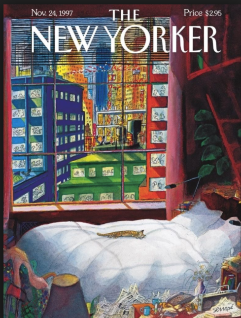 cat lies asleep on bed in new york- cover of the New Yorker, November 24, 1997- jean-jacques sempé, artist and poet- MY FRENCH COUNTRY HOME