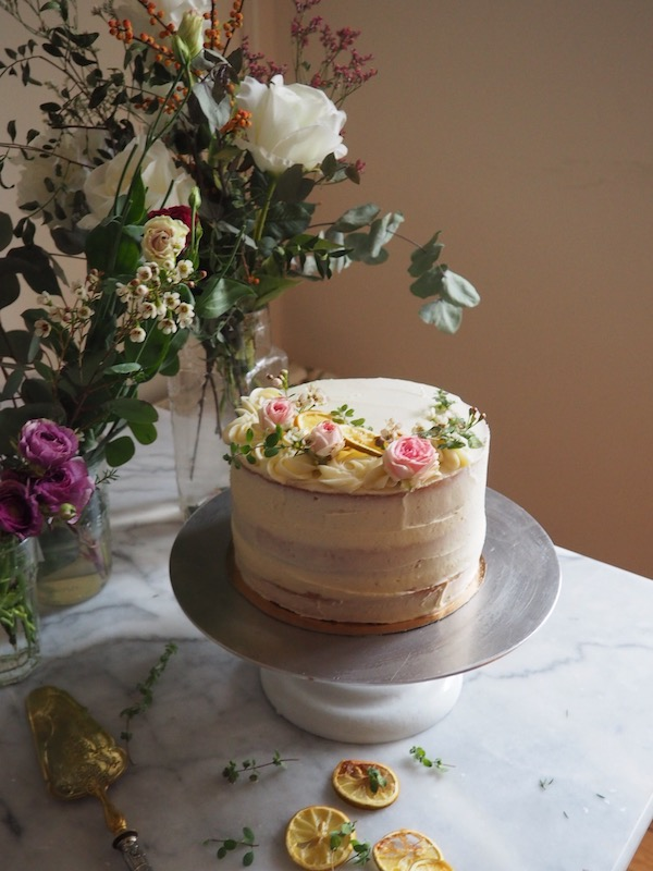 A beautiful lemon cake filled with lemon curd and iced with a vanilla bean buttercream, by Molly Wilkinson for My French Country Home