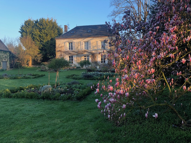 A view of the house and garden of My French Country Home by Sharon Santoni