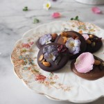 Chocolate Mendiants with edible flowers | My French Country Home - photos & recipe by MollyJWilk