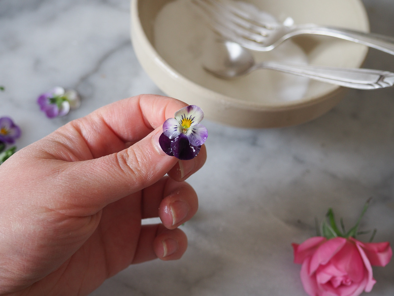 Crystallizing Edible Flowers | My French Country Home | Recipe & photos by MollyJWilk