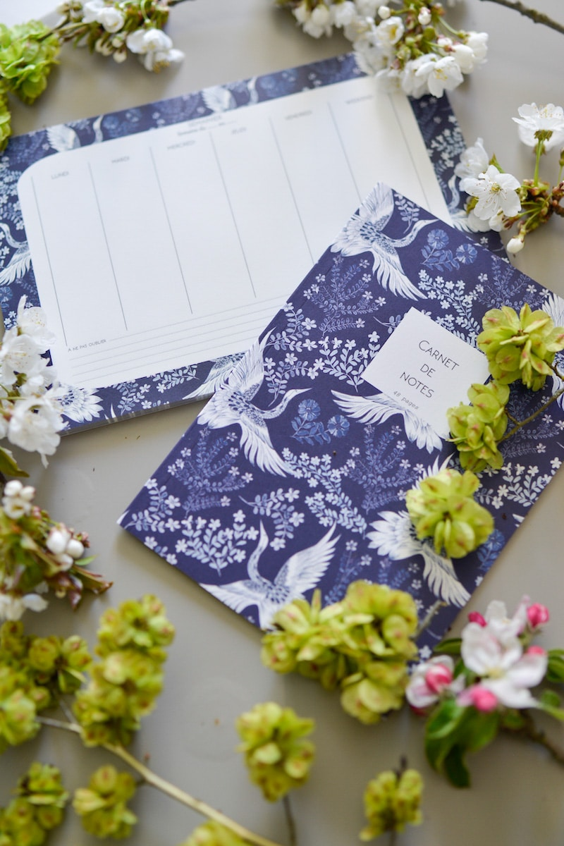 blue and white box- may 2019- my stylish french box- constance desanti papeterie notebook