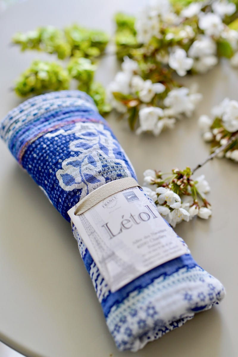 blue and white box- may 2019- my stylish french box- letol scarf