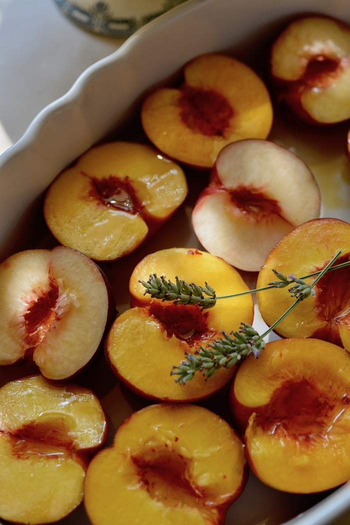 baked lavender and peaches
