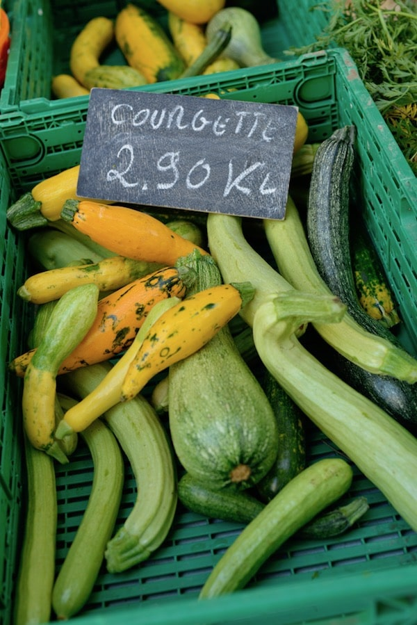 courgettes for sale on french market