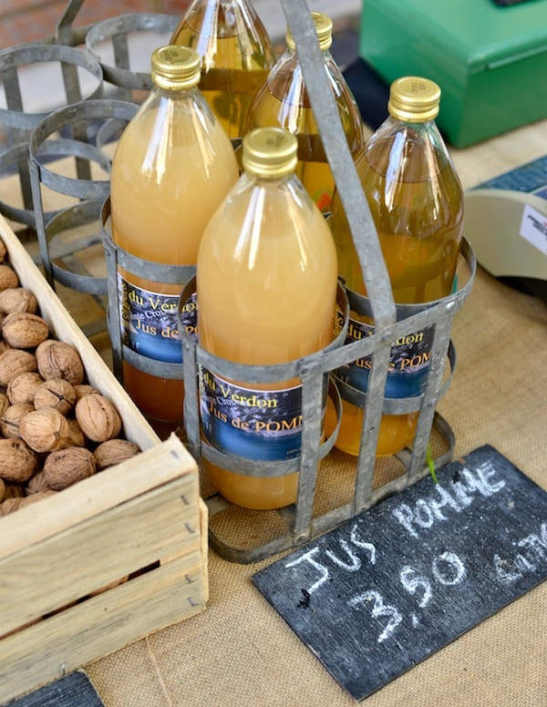 local apple juice for sale on market- market produce: behind the scenes- MY FRENCH COUNTRY HOME