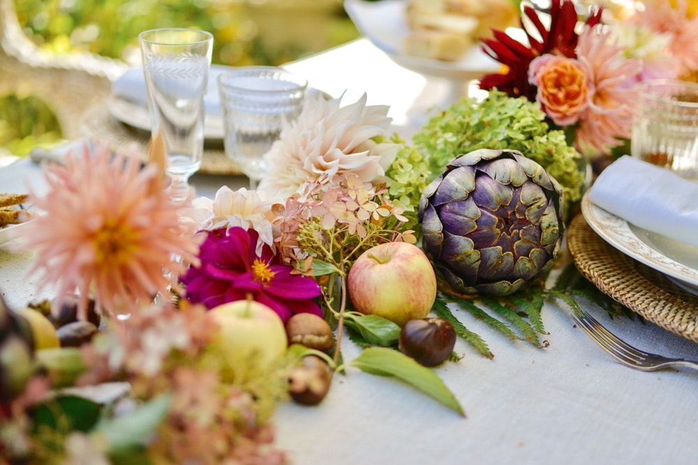 seasonal blooms, artichokes, apples and chestnuts for a fall table- MY FRENCH COUNTRY HOME