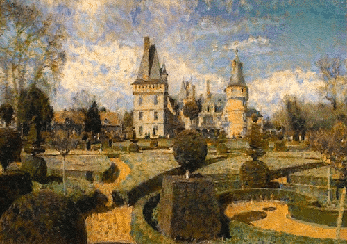 painting of a french chateau