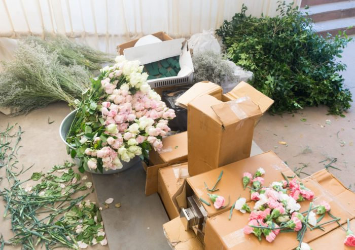 wedding floral arrangements in boxes