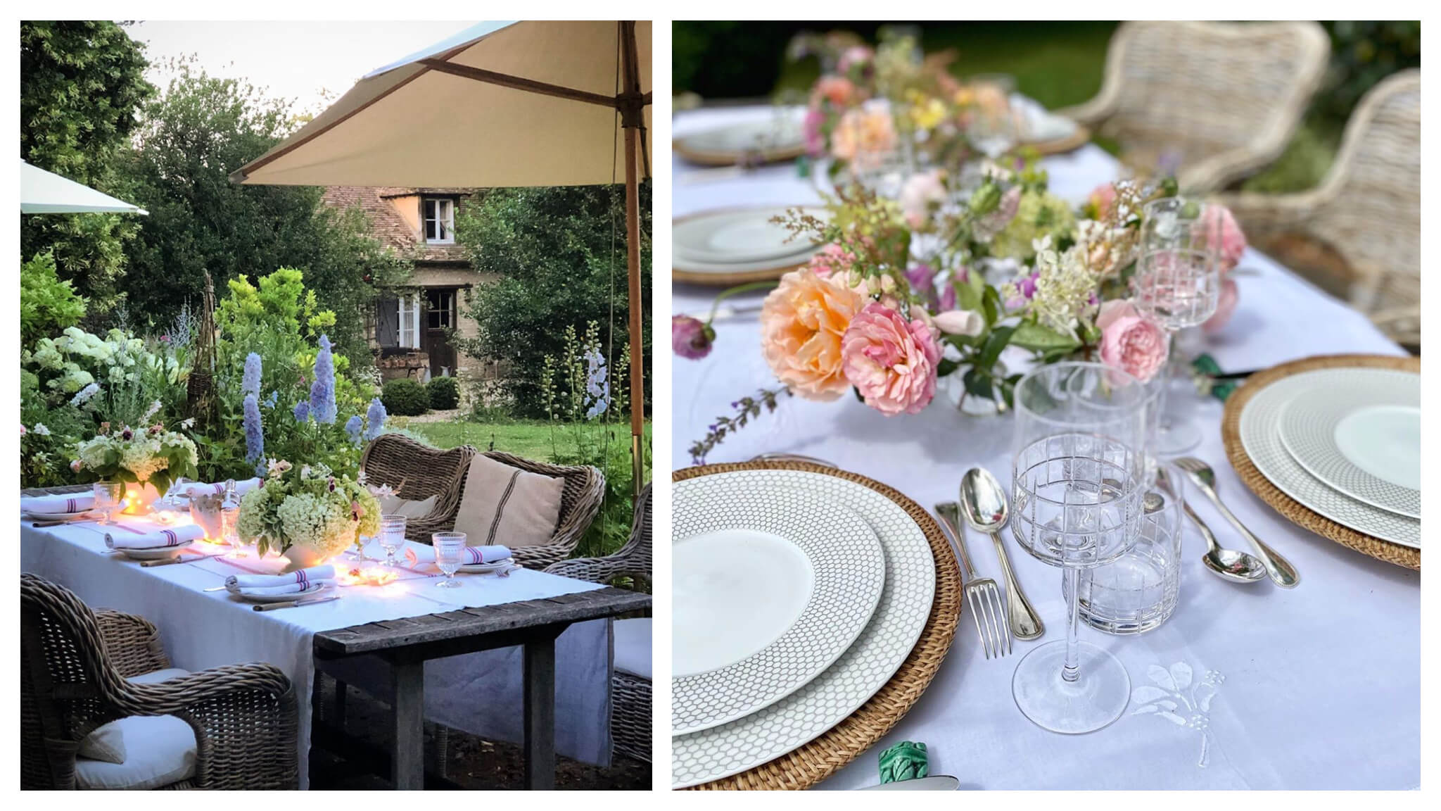 outdoor dining table and tablescape with flowers