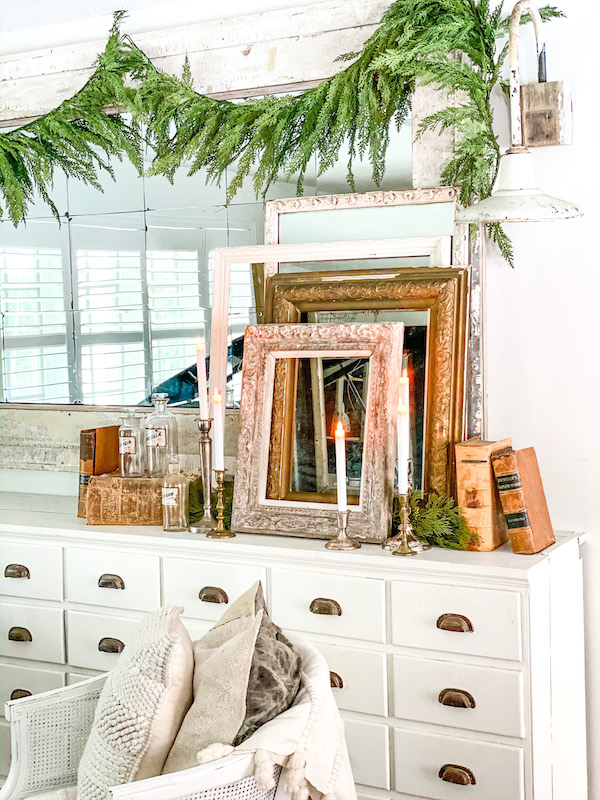 dresser with picture frames