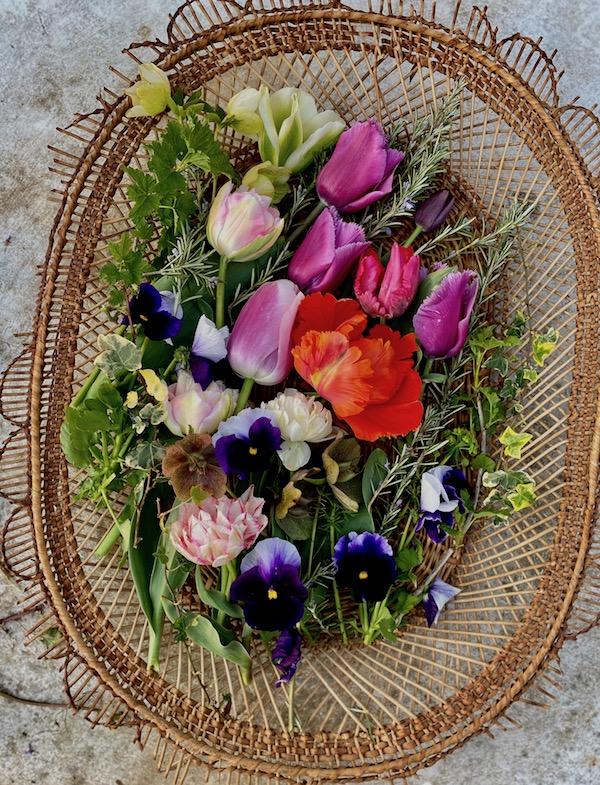 spring flowers in basket