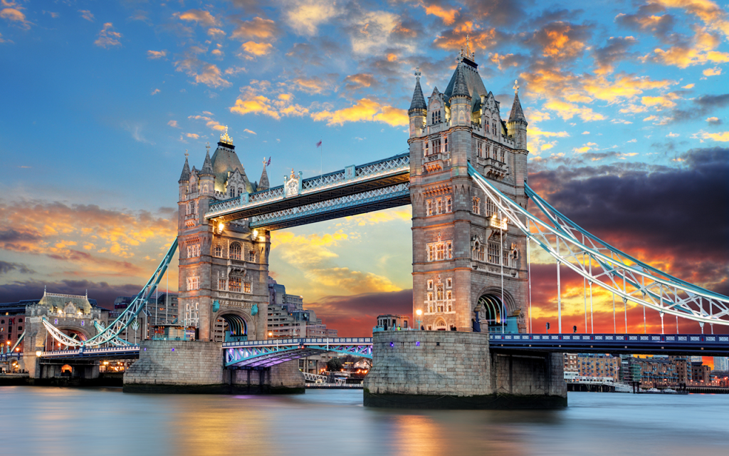 Tower Bridge in London UK on the River Thames