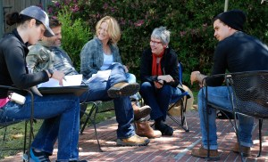 Between takes on the set of June. LtoR: Shelley Dall, Casper Van Dien, Victoria Pratt, Sharon Y. Cobb, L. Gustavo Cooper.