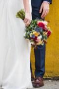 Bouquet - Fun - Yellow Wall - Offbeat Bride - St.Lawrence Market Wedding - Toronto Wedding Photographer