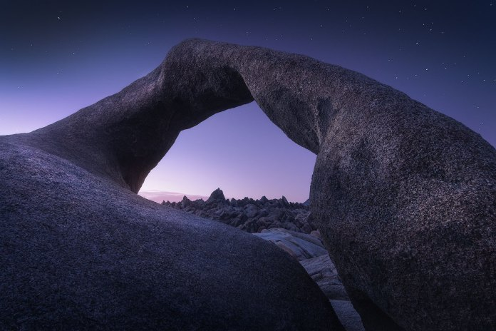 Famous Mobius Arch during twilight hours.