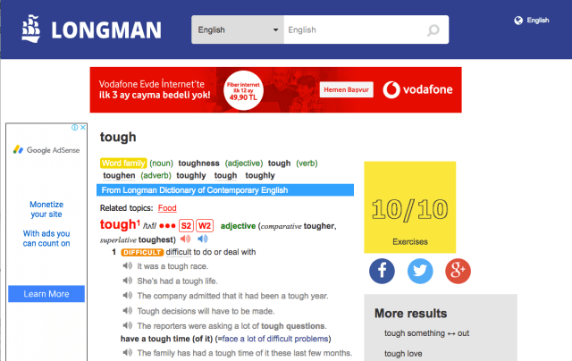 "Longman Online Dictionary: Entry for ""Tough"""