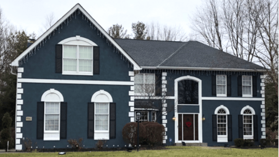 Brilliant Blue Stucco Exterior Painting Project Before