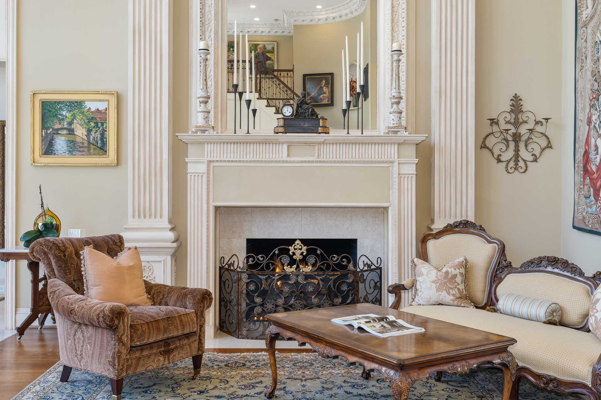 Traditional estate fireplace