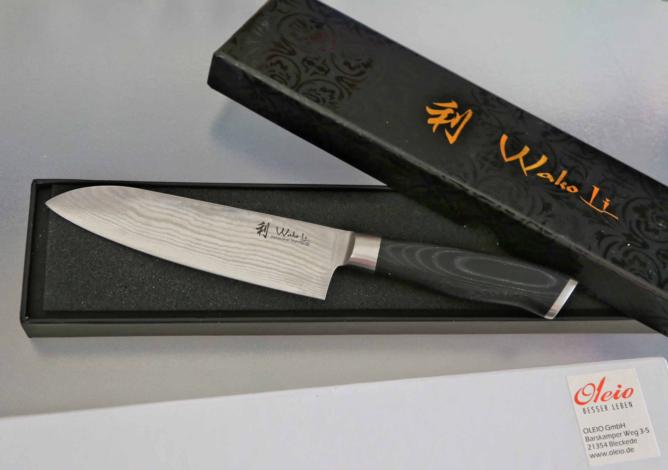 Wakoli 1DM-SAN-MIK Santoku Damascus Knife, Japanese Damascus Steel VG-10, Mikata Handle
