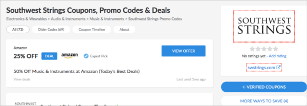 coupon site for music ecommerce store