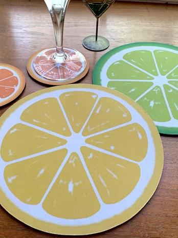 Citrus Fruit Round Mouse Pad – Lemon, Lime, Grapefruit, Orange