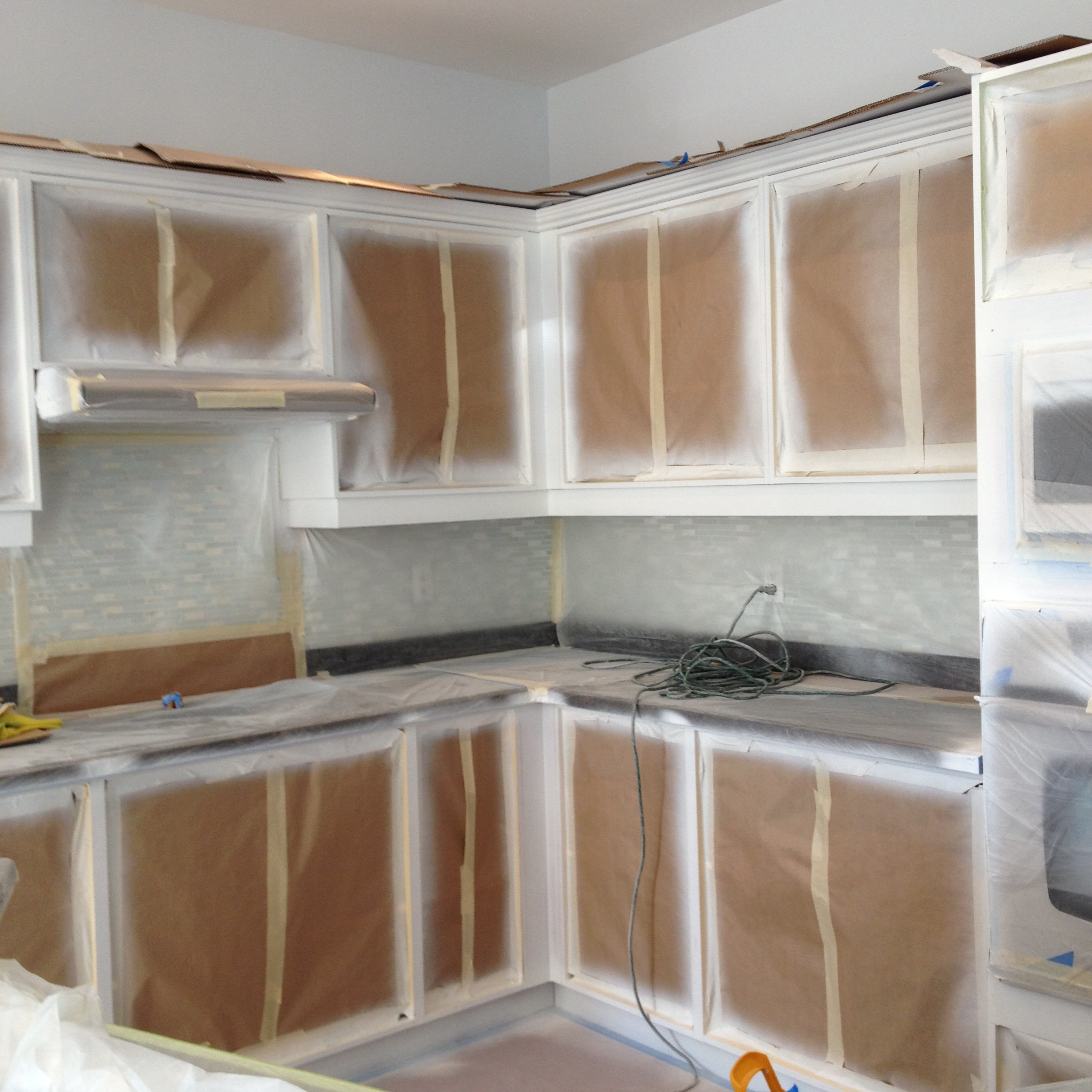 Spray Painting Cabinets