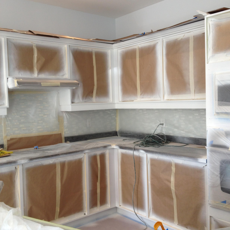 Spray Painting Kitchen Base Cabinets, Kick Plates, Crowns