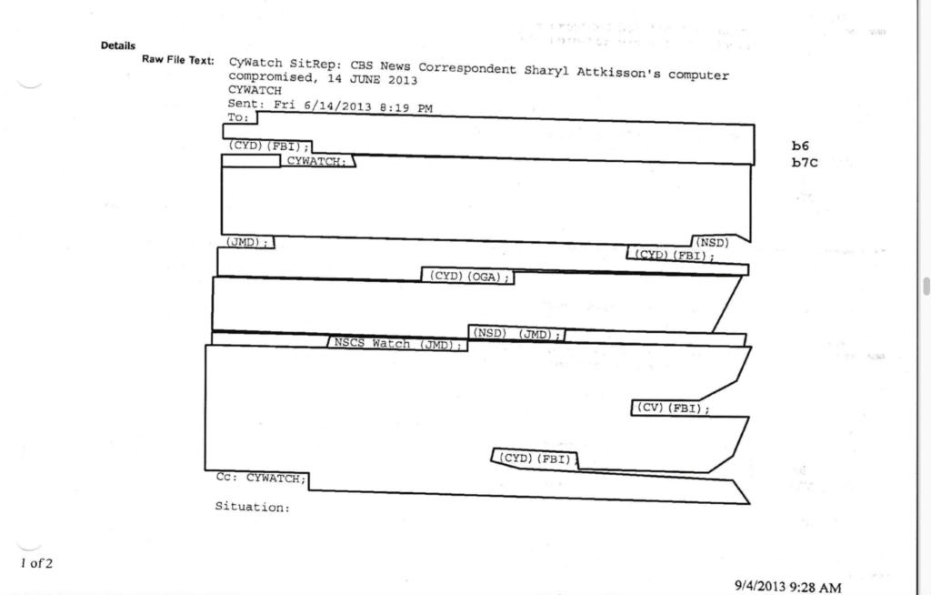 Attkisson v. DOJ and FBI for the Government Computer