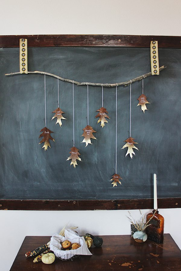 Best Diy Giving Thanks Golden Leaf Garland The Sweetest Occasion This Month