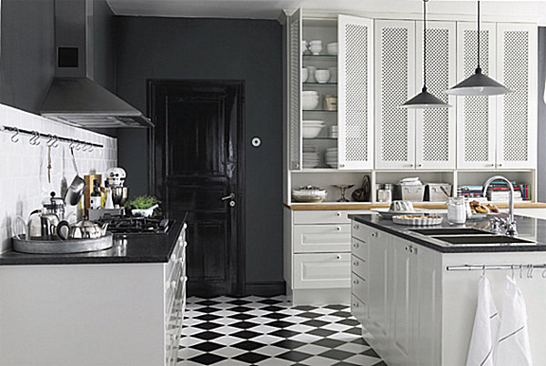 Best Modern Bistro Kitchen Black And White Tile Floor Decoist This Month