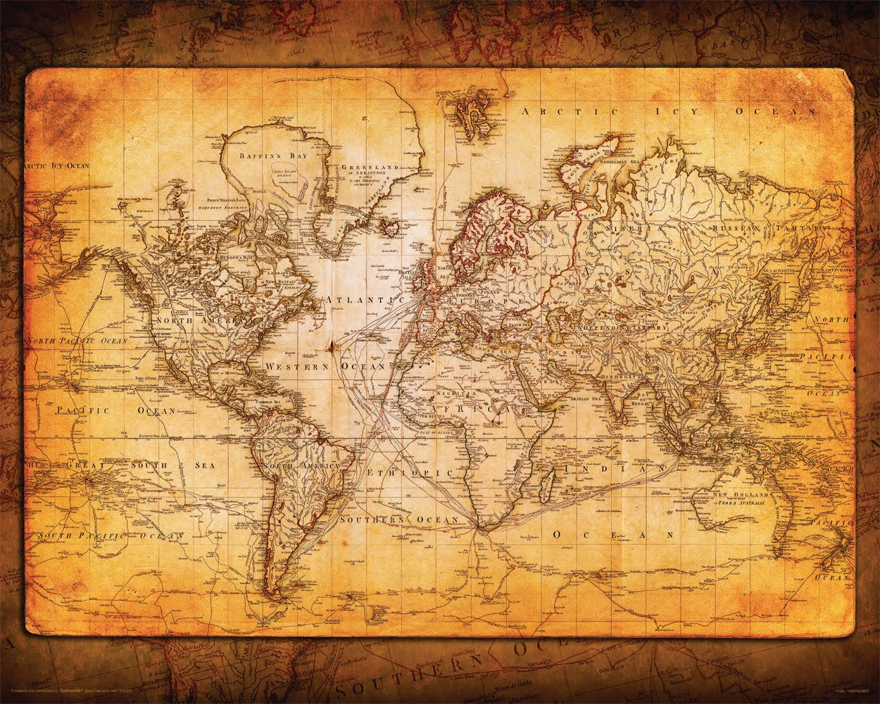 Best World Map Antique Vintage Old Style Decorative This Month