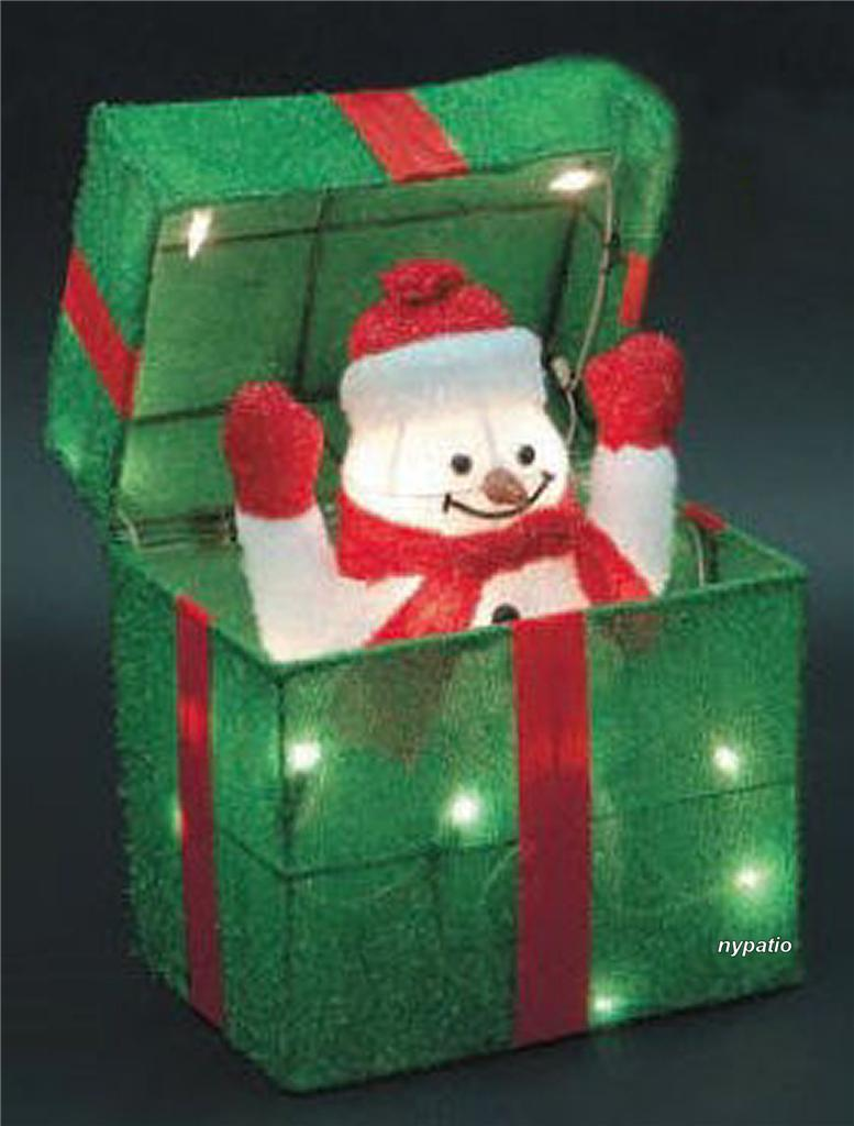 Best Animated Snowman Gift Box Lighted Tinsel Indoor Outdoor This Month