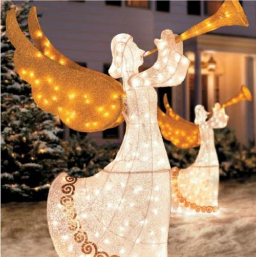 Best Set 2 Outdoor Animated Lighted Christmas Trumpeting Angels This Month