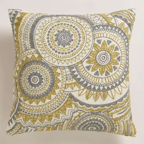 Best Yellow And Gray Abstract Throw Pillow World Market This Month