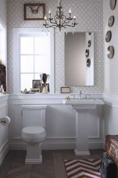 Best Powder Room Subtle Wallpaper Chevron Rug And Tile This Month