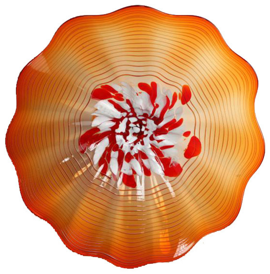 Best Orange Nova Grande Wall Art Glass Plate Contemporary This Month