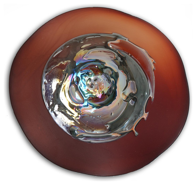 Best Charred Cherry Grande Art Glass Wall Plate Contemporary This Month