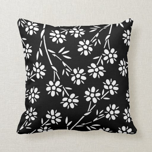 Best Black And White Floral Decorative Pillow Zazzle This Month
