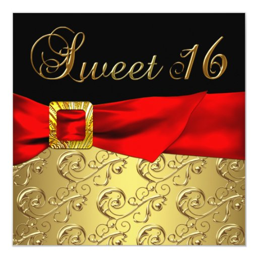 Best Gold Red Black Sweet 16 Birthday Party Card Zazzle This Month