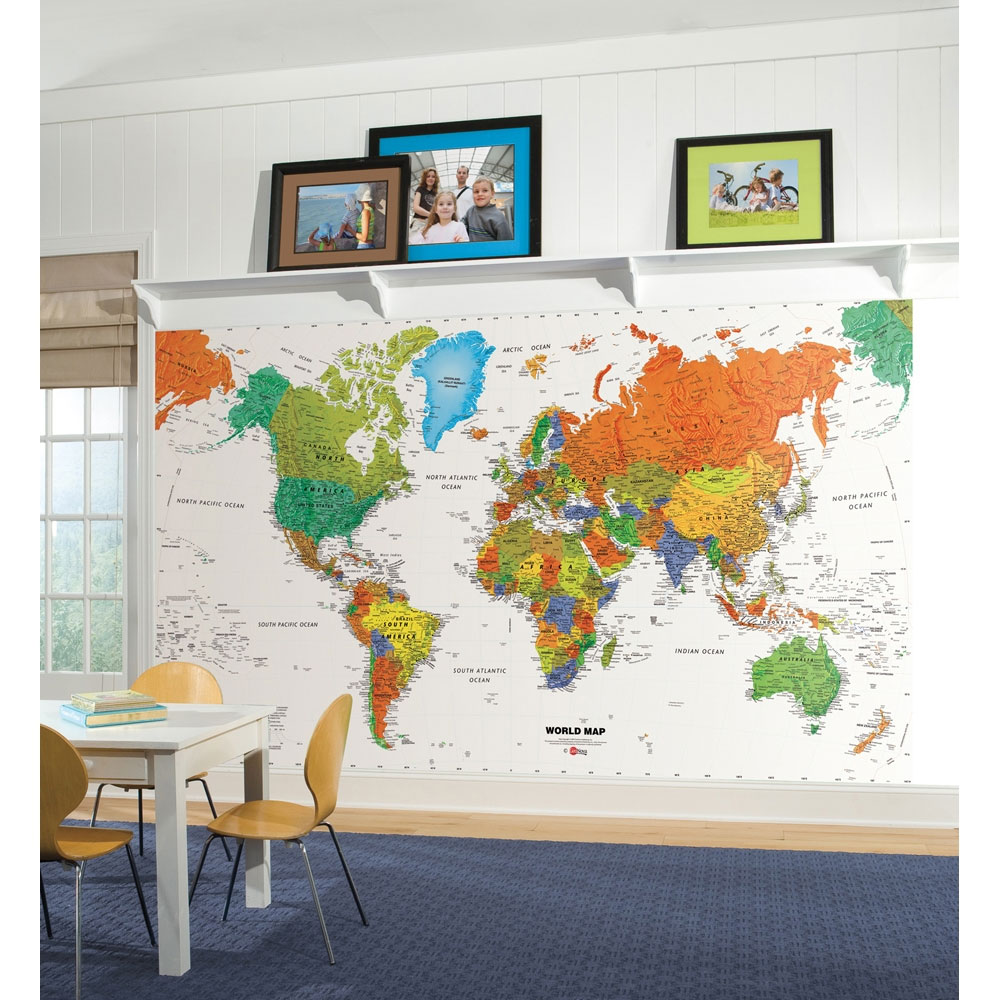 Best World Map Wall Mural Countries Wallpaper Accent Decor This Month