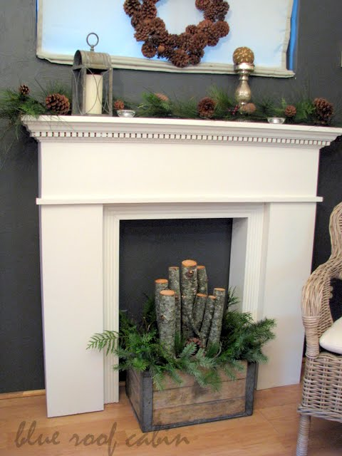 Best Blue Roof Cabin Christmas Faux Mantel This Month