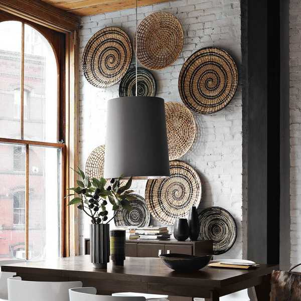 Best Modern Wall Decoration With Ethnic Wicker Plates Bowls This Month