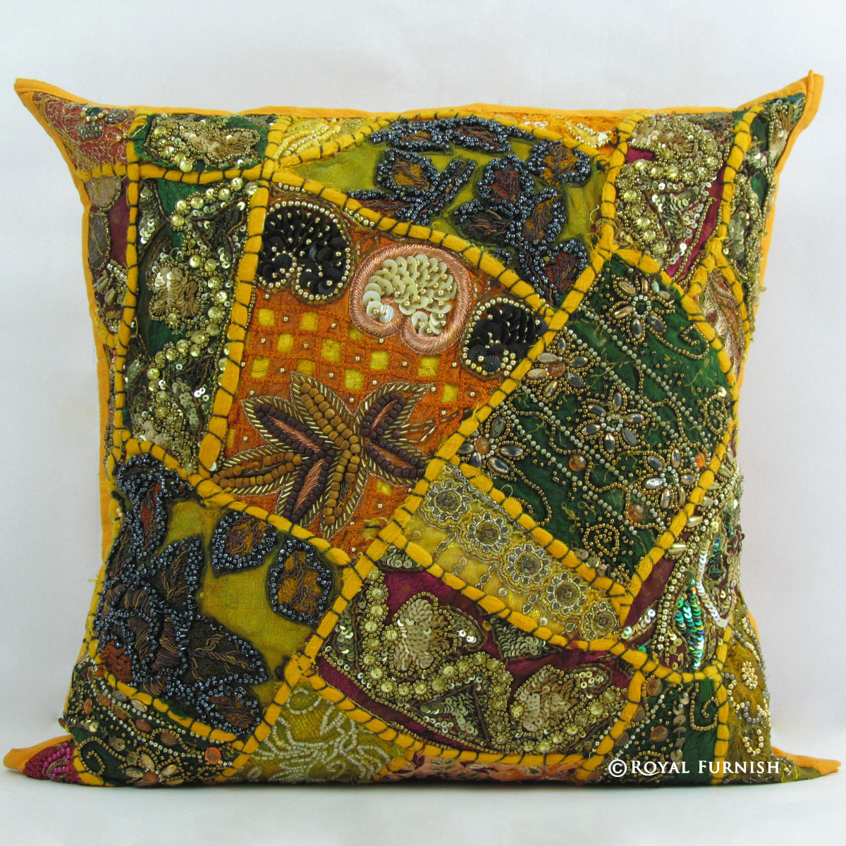 Best Yellow Indian Beaded Embroidered Patchwork Accent Throw This Month