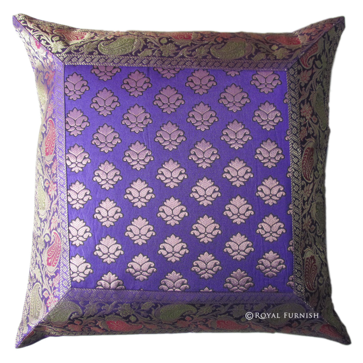 Best Blue Decorative India Silk Brocade Floral Throw Pillow This Month