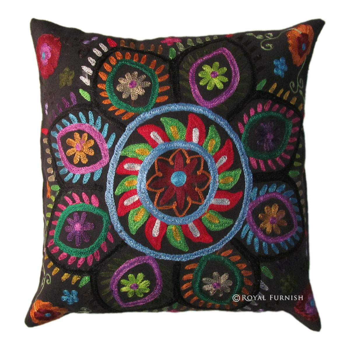 Best 16 Indian Suzani Embroidered Decorative Throw Pillow Case This Month