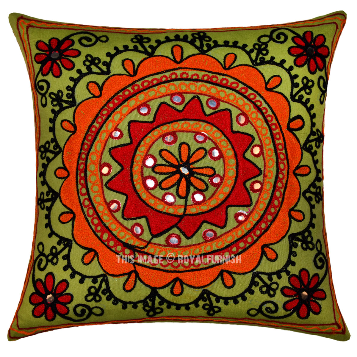 Best 16 Green Floral Circle Embroidered Decorative Square This Month