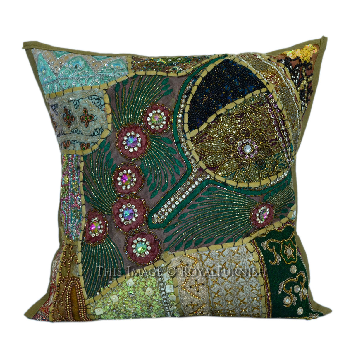 Best 16X16 Decorative Handmade Beaded Sequin Square Pillow This Month